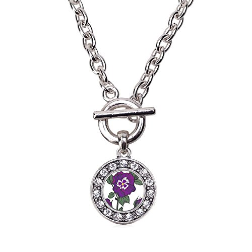 Inspired Silver Pansy Flower Circle Charm Toggle Necklace Clear Crystal Rhinestones