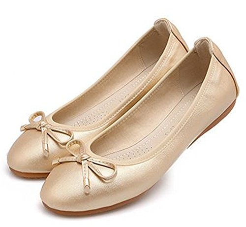 Womens Gold Dress On Ballet Classic Shoes Toe Pointy Flat Slip Flats PRETTYHOMEL 7dUaqwU