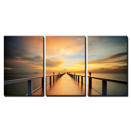 """Wall26 - 3 Piece Canvas Wall Art - Wooded bridge in the port along sunrise. - Modern Home Decor Stretched and Framed Ready to Hang - 24\""""x36\""""x3 Panels"""