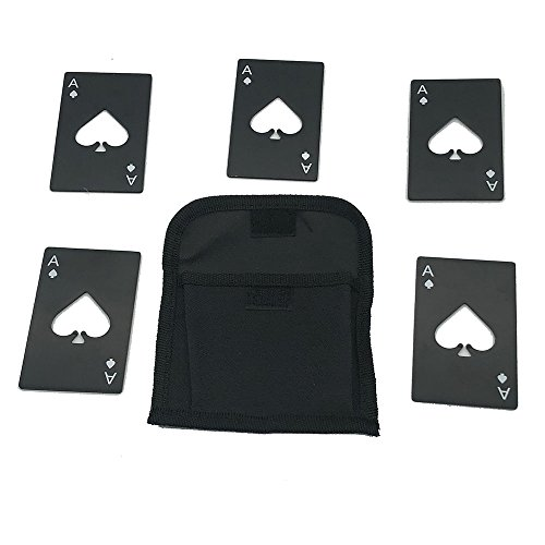 Creative Portable Beer Bottle Opener Stainless Steel Credit Card Size Casino Poker Shaped Bottle Opener,Black(5pcs with a bag) For Sale