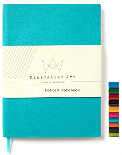 Minimalism Art, Soft Cover Notebook Journal, Composition B5 Size 7.6 X 10 inches, Dotted Grid Page, 192 Pages, Fine PU Leather, Premium Thick Paper - 100gsm, Designed in San Francisco (Blue) ()