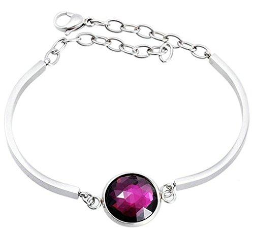 Gnzoe Jewelry Womens Bracelet Elegant Bracelet Stainless Steel Pink Purple Crystal Charm Wristband Bracelets -