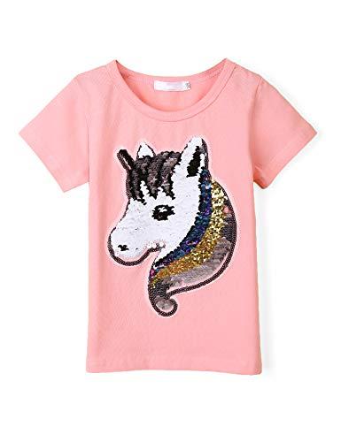 (Girl's Short Sleeve Crewneck Tee Unicorn Flip Sequin T-Shirt Tops Pink)
