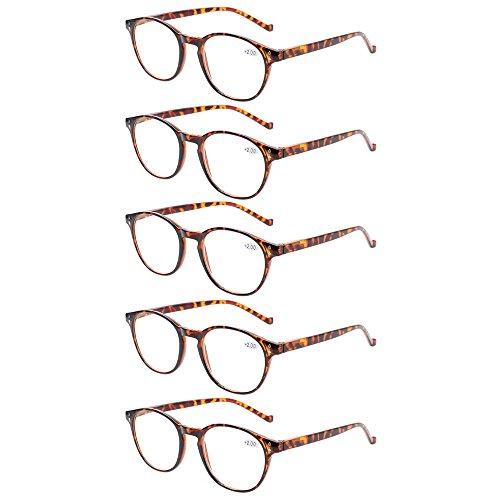 5 Pairs Reading Glasses - Standard Fit Spring Hinge Readers Glasses for Men and Women (5 Pack Tortoise, 1.50) (Mens Reading Glasses Round)