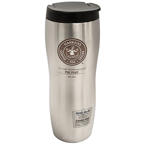 Starbucks Pike Place Concord Double-Walled Stainless Tumbler,Silver,16oz