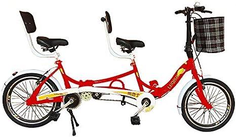 SYLTL Bicicleta Tándem 20in Doble Plegable Pareja Doble Paseo Bicicleta de Montaña Deportes Portátil Bicicleta ...