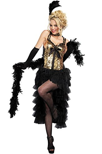 [Mememall Fashion Deluxe Gold Sequin Dress Burlesque Bombshell Flapper Adult Costume] (Deluxe Plush Cow Mascot Costumes)