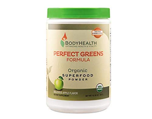BodyHealth Perfect Greens Formula (30 Svgs) 100% Organic Superfood, 23 Whole Foods (Wheat Grass, Spirulina, etc) Antioxidant, Probiotic, Detox, Gluten Free, Energy Juice Supplement, Apple Flavor
