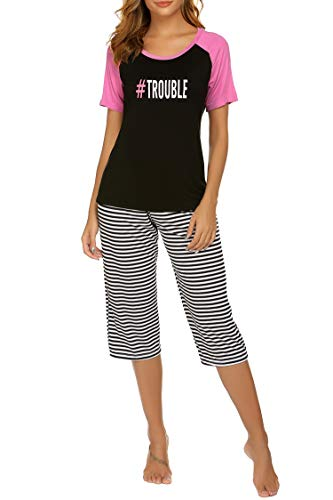 Ekouaer Stripe Pajamas for Women - Womens Capri Pajama Sets Letter Printed Sleepwear Womans Pajamas PJS(Black M)