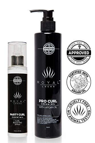 (Deluxe Set Professional Curly Hair Products Combo Set by Royal Locks. Pro Curl Cream Gel and Curl Spray. Set of Two Argan Oil Infused Products for Defined Soft Frizz Free)