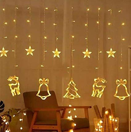 CC Arts 138 LED Curtain String Lights with 8 Flashing Modes Christmas Decoration (Christmas Ornaments Yellow)