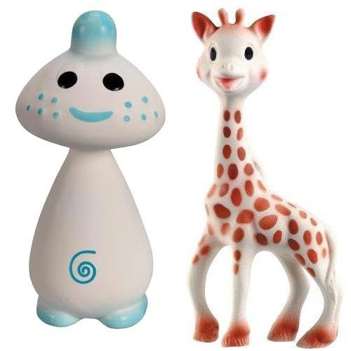 Vullie Sophie Giraffe and Chan Blue - Natural Rubber and Food Paint Details Set of 2 by Vulli