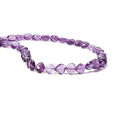 6x6mm Amethyst straight drilled bezel faceted hearts 13.75 inch 58 - Heart 6 Mm Bezel