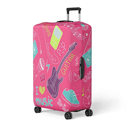 (Pinbeam Luggage Cover Pink Girly Music Doodles Girl Mp3 Sketch Workbook Travel Suitcase Cover Protector Baggage Case Fits 26-28)