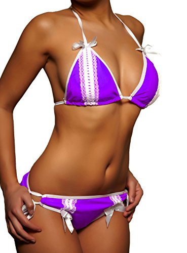 pantaloni nodo Alzora Top 10229 Bikini Top Backless Lilla Viola e donna da 08OEn4Wg
