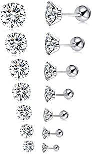 Tornito 7 Pairs 20G Stainless Steel Stud Earrings Round Cubic Zirconia Barbell Earring Set For Men Women 2MM-8