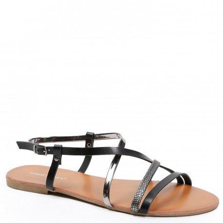 30c74acae73668 Ideal Shoes - Sandales plates avec multibrides en similicuir, effet rep.