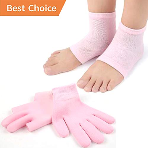 Gel Spa Moisturizing Gloves, Fingerless Gloves for Women, Cracked Hands Gloves, Cotton Moisturizing Gloves and Cracked Hands Feet Gel Lining Infused with Essential Oils and Vitamins Pink