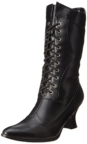 Witch Costume Shoes (Ellie Shoes Women's 253 Amelia Victorian Boot, Black Polyurethane, 8 M)