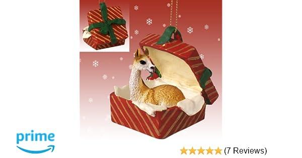 amazoncom llama red gift box christmas ornament home kitchen