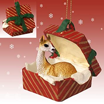 amazoncom llama red gift box christmas ornament home kitchen - Llama Christmas Decoration