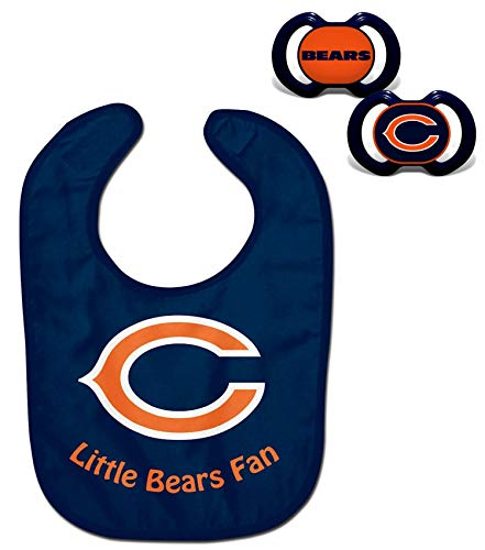 Official NFL Fan Shop Authentic Baby Pacifier and Bib Bundle Set. Start Out Early in Joining The Fan Club and Show Support for Your Favorite Football Team (Chicago Bears)