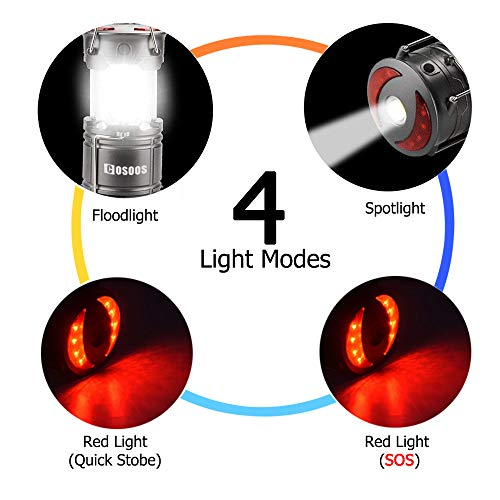 2 Pack Rechargeable LED Camping Lantern, COSOOS Portable Lantern Flashlight with Built in Battery, 4 Lighting Modes, Survival Kit for Emergency, Hurricane, Storm, Power Outage by COSOOS (Image #2)
