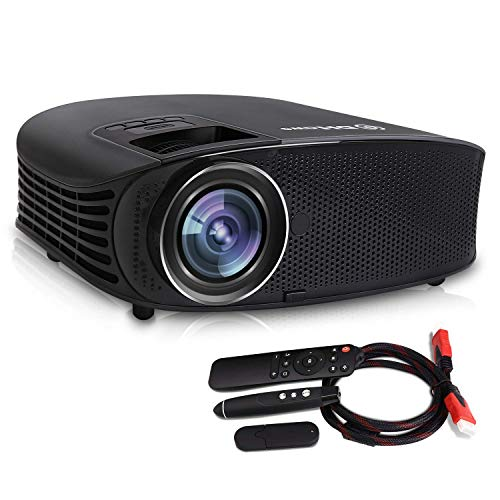 Video Projector,DHAWS 3800LM 1080P Full HD HDMI Office Projector for Laptop Business PowerPoint Presentation and Home Theater,with PPT Clicker (with PPT clicker) ()