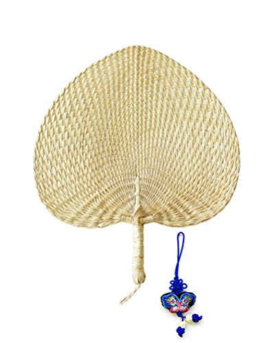- 12'' Natural Raffia Fans, Whole leaf, Perfect for Summer Come With Butterfly Embroidery Pendant, Exquisite Handicraft 1pc