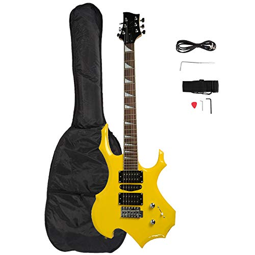 Rose Wood Fingerboard Burning Fire Style Electric Guitar + Bag + Strap + Pick + Handle + Cable + Wrench too (Yellow)