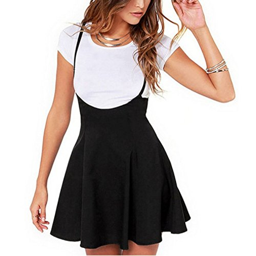 Femme Jupes Noire Femme avec Bretelles plisses Jupe plisse Jupes Taille Haute Mini Jupe cole As Picture
