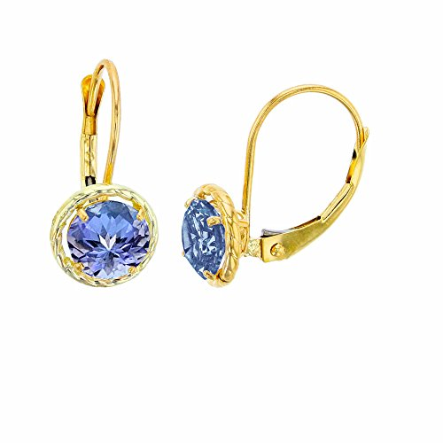 14K Yellow Gold 6mm Round Tanzanite Center Stone Rope Frame Leverback Earring ()