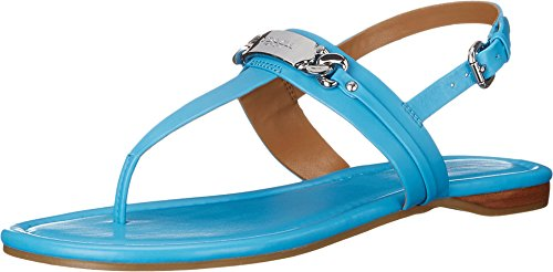 Azure Leather (Coach Caterine Women's Leather Thong Sandals (7, azure))