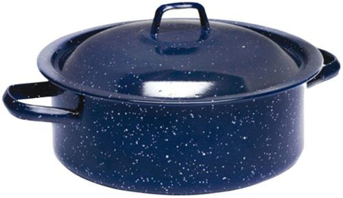 IMUSA USA C20666-1062810W Enamel Dutch Oven with Lid 4.5-Quart, Speckled Blue