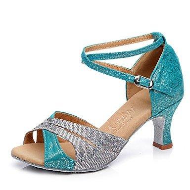 "Las mujeres latinas de Glitter espumoso Sandalia Tacón zapatillas Splicing profesional talón acampanado azul verde plata 2"" - 2 3/4"" personalizable,2 1/4"" (5.8cm) espeso talón,verde,US6.5-7/EU37/UK4.5"