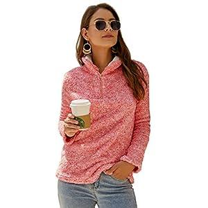 Angashion Womens Long Sleeve Half Zip Fuzzy Fleece Pullover Jacket Outwear Sweatshirt Tops Coat with Pocket