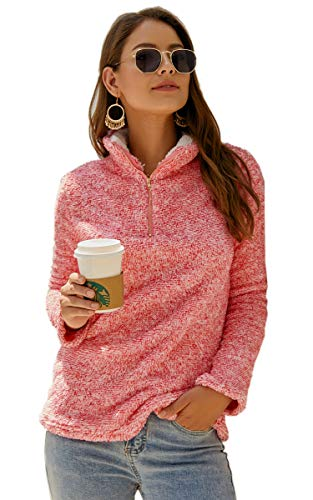 Angashion Womens Sweatshirt - Long Sleeve 1/4 Zip Up Faux Fleece Pullover Hoodies Coat Tops Outwear with Pocket 174 Red S ()