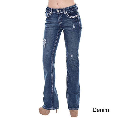 Sexy Couture Women's S96-PB Mid Rise Flare Bottoms Boot Cut Jeans,DENIM,7