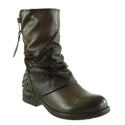 Brown biker Shoes 3 cavalier CM Booty Fashion Women's boots Heel studded Block Ankle Angkorly zip braided OqECZYwE