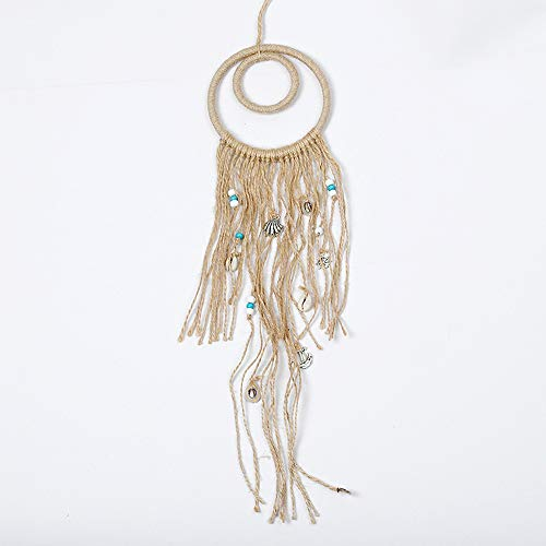 - HUISN Dream Catcher Hemp Rope Retro New Indian Style Double Ring Shell Pendant Home Decorations Fashion Personality Can Be Hung in Any Position Size 1148cm