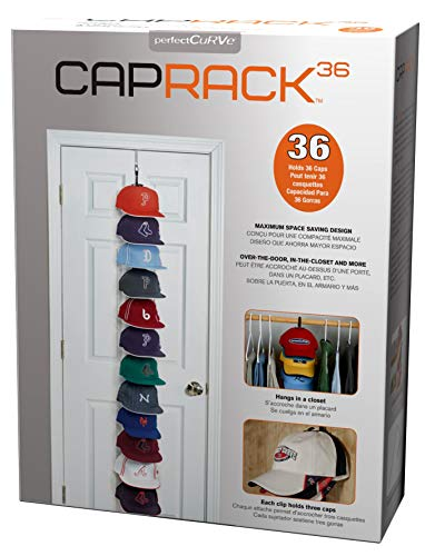 Perfect Curve Cap Rack System 36 - Baseball Cap Organizer (12 clips hold up to 36 caps,Black)