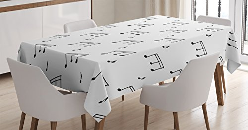 Ambesonne Music Tablecloth, Musical Notes Theme Melody Sonata Singing Song Clef Tunes Hand Drawn Style Pattern, Dining Room Kitchen Rectangular Table Cover, 60 W X 90 L Inches, Charcoal Grey