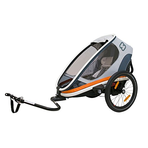Hamax Outback Multi-Sport Child Bike Trailer + Stroller +Jogger, Scandinavian Safety & Design (One Seat, White/Orange) by Hamax