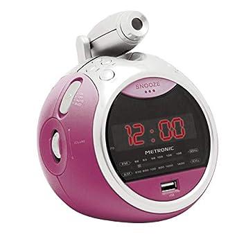 METRONIC 477014 Radio réveil USB Rose pâle avec Projection de l heure Rose e878265a61bd