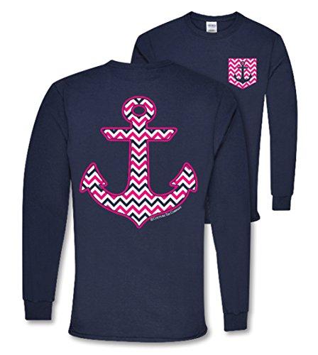 Anchor Long Sleeve T-shirt (Chevron Anchor W/Faux Pocket Long Sleeve Shirt (2X-Large, Navy))