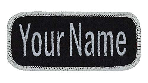 Name patch Uniform or work shirt personalized Identification tape Embroidered Sew On, Hook Fastener or Iron on, Light Grey/Black Arial, SEW ON