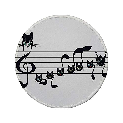 Non-Slip Rubber Round Mouse Pad,Music Decor,Notes Kittens Kitty Cat Artwork Notation Tune Children Halloween Stylized,7.87