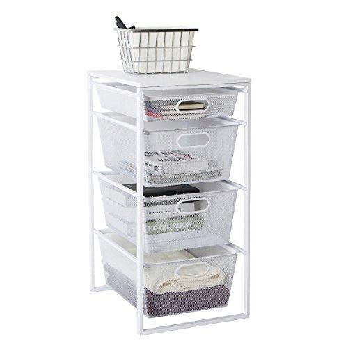 (Tidy Living Multi Function 4 Drawer Organizer White Mesh Storage)