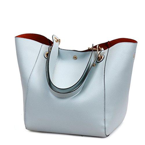 Dexuntong Moda impermeable bolso de hombro Mujer Bolso de Mano elegante de cuero suave de gran capacidad Cuero artificial Azul1