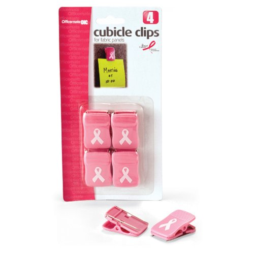 Officemate Breast Cancer Awareness Cubicle Clips, Pack of 4, Pink (08916) Cancer Research Pins
